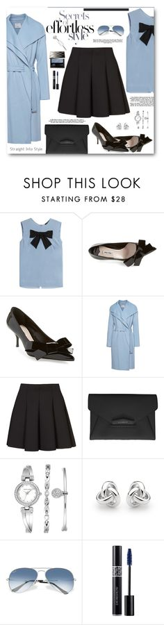 """Beautiful in Black and Blue"" by brendariley-1 ❤ liked on Polyvore featuring Steffen Schraut, Miu Miu, Vince, Topshop, Givenchy, Anne Klein, Georgini, Ray-Ban, Christian Dior and Burberry"