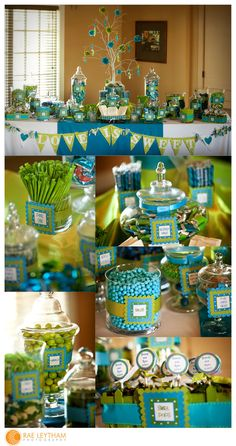 silk ribbons around jar with signs. Graduation is Sweet Garland. Centerpiece elevated. Colored cloth on top of basic black. Mini cups or bags in lined basket.