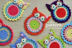 Crochet Pattern Crochet Owl Coasters Appliques by ZoomYummy