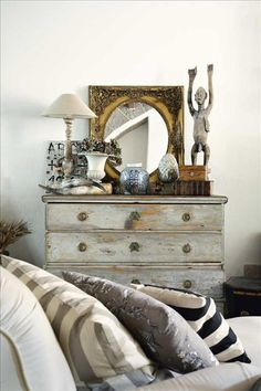 .Interior Design * Beautiful weathered finish dresser and artful vignette. Gray and White