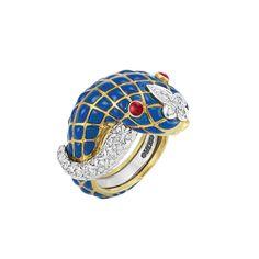 Gold, Blue Enamel and Diamond Snake Ring, David Webb | via jewelsdujour.com