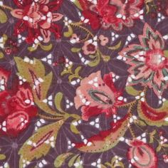 Cranberry-colored flowers are rendered alongside peach and pea green on an alluring cotton eyelet. Medium-weight with a sunwashed grape background, one side's embroidery blends in with the motif, whlie the other's is  bright white. This fabric will sew up into beautiful dresses and skirts.