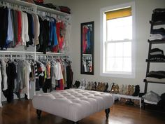 A little over the top, but I am totally stealing some ideas for our spare room/office/my closet since our bedroom closet was way too full with both of our clothes in it - Love And Bellinis: Turning A Spare Bedroom Into A Dressing Room