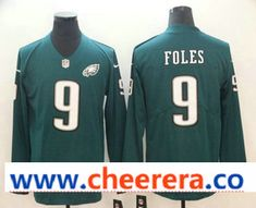 e9ca6213310 Men's Philadelphia Eagles #9 Nick Foles Nike Green Therma Long Sleeve Limited  Jersey