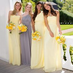 Yellow A-line Chiffon Bridesmaid Dresses, Daffodil Bridesmaid Dress with Ruching Detail, Sweetheart One Shoulder Gown for Bridesmaid