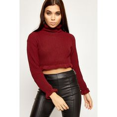 WearAll Knitted Ruffle Hem Cropped Jumper ( 28) ❤ liked on Polyvore  featuring tops 8d541c951d9
