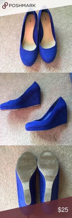 Apt. 9 Blue Swede Wedges Beautiful blue swede wedges from Apt. 9! Great condition, only wore once or twice. Apt. 9 Shoes Wedges