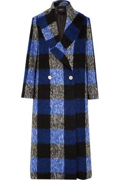 Blue, black and white brushed wool-blend Button fastenings through double-breasted front 75% wool, 23% polyamide, 2% other fiber  Dry clean Made in the UK