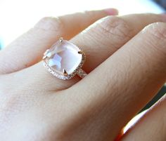 Ready to Ship - Rose Quartz Pristinely Cushion Cut 18K Rose Gold Vermeil Ring love love love