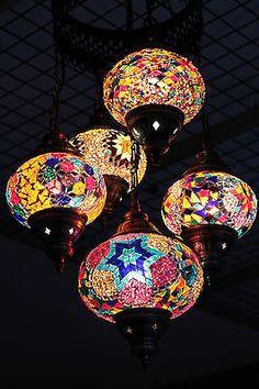 Multicolour Turkish Mosaic Hanging Lamp Light Hand Craft 5 Medium 1 Large Globe