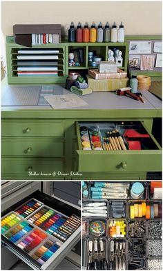 Martha's Craft Desk: In the crafts room, thin metal shelves slide out easily on old-fashioned bird's beak supports (the small notches on the sides), giving Martha easy access to papers in a range of colors. Art Studio Organization, Home Organisation, Organizing Solutions, Organizing Tips, Organization Ideas, Storage Ideas, Le Logis, Craft Desk, Craft Rooms