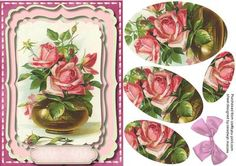 Beautiful Vase of pink roses in a ornate frame  on Craftsuprint - Add To Basket!