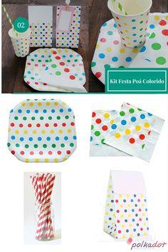 Kit Festa Poá Colorido #copo #papel #prato #lembrancinhas #Colorido #ideias #poá #guardanapo #kitfesta #festa #circo #canudos