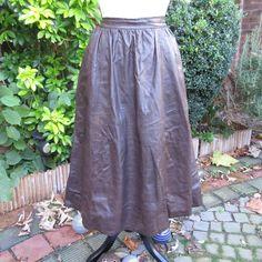 "Vintage Skirt - Gathered Soft Leather - Dark Brown - Lined - Waist 26"" | eBay"