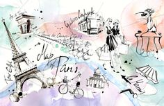 paris coloring | french girls – black ink, fineliner, water color, photoshop