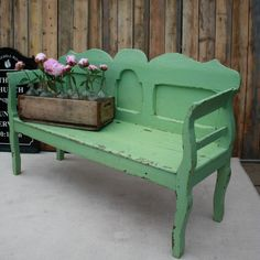Dutch bench, solid wood, original green chippy paint by Restored2bloved on Etsy