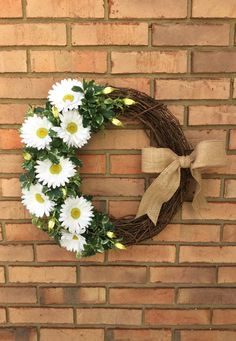 Wreaths for Spring, Wreath Front Door, Outdoor Door Wreaths, White Daisy Wreath Flower Decor Country Flowers Burlap Ribbon Wreath Year Round by ElegantFlorals20 on Etsy