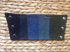 wrist wallet - striped - navy blue jean olive army - denim - western - S/M () by nestnebula