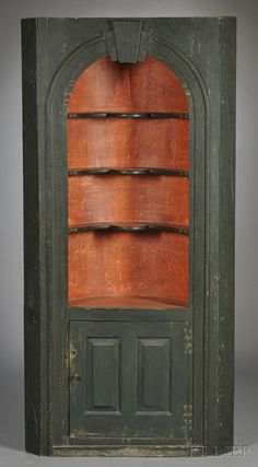 Green- and Salmon-painted Barrel-back Corner Cupboard Farmhouse Furniture, Period Furniture, Furniture, Corner Cupboard, Cupboard, American Furniture, Primitive Furniture, Country Furniture, Dolls House Interiors