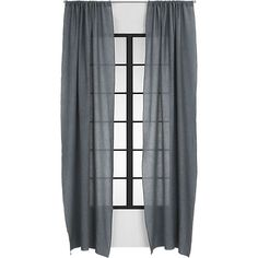 French-Belgian graphite linen curtain panel    CB2