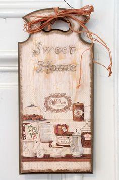 Decorative handmade cutting Board decoupage plaque