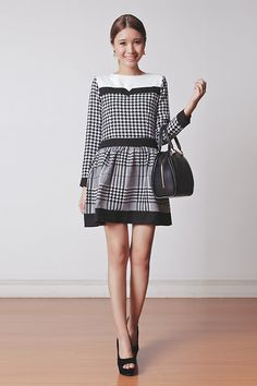 Black and white dress Louis Vuitton Dress, Vuitton Bag, Tricia Gosingtian, Semi Formal Wear, Houndstooth, Lady, Passion For Fashion, Nice Dresses, Fall Outfits