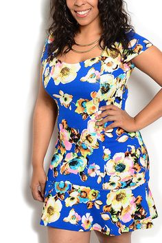 Royal Cream Plus Size Girly Fitted Floral Short Sleeve Princess Cut Date Dress
