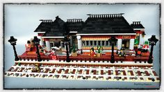 Lego Train Station, Train Stations, Lego Factory, Lego Trains, All Lego, Lego Architecture, Le Far West, Train Layouts, Lego Building