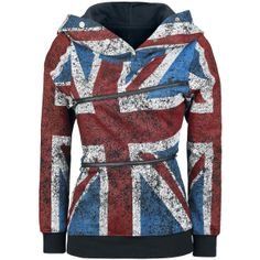 Union Jack Double Zip Hoodie - Girls hooded sweatshirt by Pussy Deluxe - Article Number: 251729 - from 43.99 € - EMP Merchandising ::: The H...