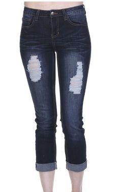 Liza distressed dark wash straight leg carpi jeans with folded hem. Fit: true to size with stretch, straight leg.