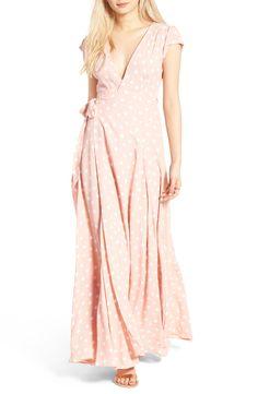 tularosa Sid Wrap Maxi Dress, summer maxi dress, pink maxi dress, polka dot maxi dress, wrap dress