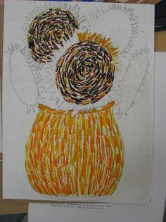 Oil Pastel Sunflowers - Van Gogh
