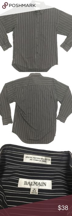 BALMAIN Button Front Dress Shirt Sz M Striped Excellent Condition. No flaws. No stains. No holes. No rips. Men's size Medium. Authentic Balmain Button Front Long Sleeve Dress Shirt. Expensive shirt for a low price! Shipping same day or next day! Balmain Shirts Casual Button Down Shirts