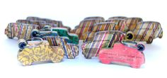 Recycled skateboards keychains and magnets
