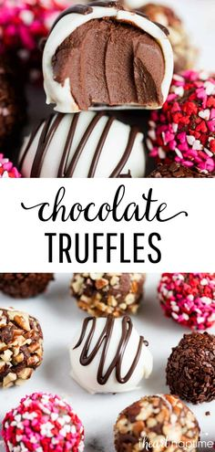 Easy Chocolate Truffles - Made with only 3 ingredients and are smooth, creamy and seriously divine. The perfect festive and decadent treat to make for your Valentine! easy 3 ingredients easy for a crowd easy healthy easy party easy quick easy simple Homemade Truffles, Oreo Truffles, Pumpkin Truffles, Lemon Truffles, Coconut Truffles, Easy Chocolate Truffles, Chocolate Truffle Recipe, Dessert Halloween, Tiramisu Dessert