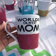 World's Okayest Mom 14oz sparkling coffee mug by SipSparkle on Etsy