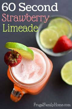 This recipe for homemade strawberry limeade is so good. The best thing about it is, you can make it in about 60 seconds. I know so fast! This is an easy 3 ingredient strawberry limeade recipe that has the perfect blend of sweet and tart. I love making a s Summer Drinks, Fun Drinks, Refreshing Drinks, Beverages, Cold Drinks, Yummy Smoothies, Smoothie Recipes, Drink Recipes, Strawberry Limeade