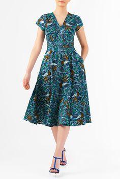 I <3 this Bird print cotton banded waist dress from eShakti