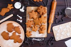 Freshly baked ready to decorating gingerbread cookies with cutte ~ Premium Photo Gingerbread Decorations, Gingerbread Cookies, Baking Utensils, Freshly Baked, Coca Cola, Sweets, Desserts, Christmas, Food