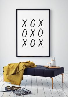 XO Print, by DesignStylePrints on Etsy. A modern black and white art print to graphically display your love on Valentines day or any day of the year.