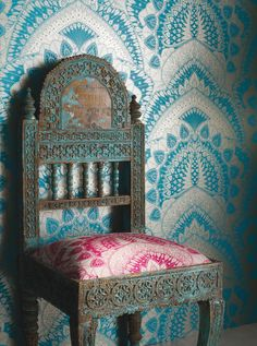 Azari by Matthew Williamson - Turquoise / Gold - Wallpaper : Wallpaper Direct Osborne And Little Wallpaper, Gold Wallpaper, Unusual Wallpaper, Peacock Wallpaper, Bedroom Wallpaper, Wallpaper Ideas, Matthew Williamson, Moroccan Wallpaper, Peacock Bedroom