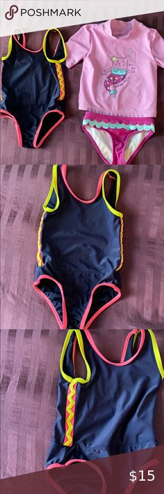 NWT Baby Gap Girls Size 2t or 4t Flower Ruffle Bikini Bathing Suit