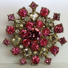 Vintage 1950s Pink and Clear Rhinestones Brooch Silver by ngpopp, $21.95