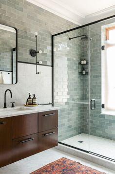 calm modern bathroom - seafoam green tile, marble, wood, black fixtures