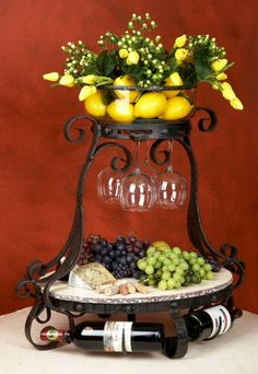 Pictured here is the Wrought Iron Amalfi Wine Cheese Server by Bella Toscana Marble Plates, Wrought Iron Decor, Cheese Party, Wine Cheese, Cheese Fruit, Tuscan Decorating, Wine Parties, In Vino Veritas, Tuscan Style