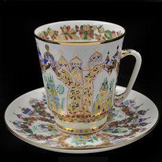 Russian Imperial Lomonosov Porcelain Tea Cup and Saucer Palaces Of Scheherazade #Lomonosov #CupsSaucers