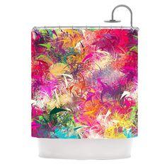 "Danny Ivan ""Splash"" Rainbow Abstract Shower Curtain"