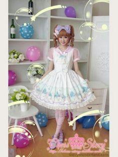 The unicorn castle; a lolita print dress