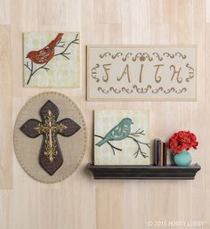 Upgrade canvases of all kinds (wood, burlap, original) with the embellishments of your choice (leather, metal, paint, paper) for a collected-over-time look.