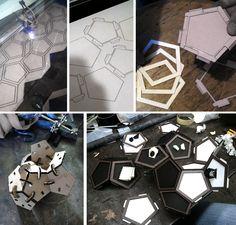 Lasercut dodecahedron display sculpture